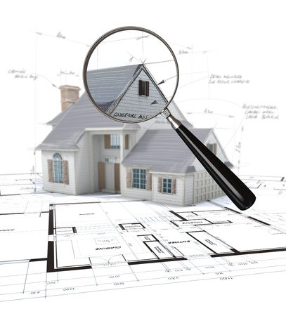detached house:  3D rendering of an architecture model scrutinized by a magnifying glass
