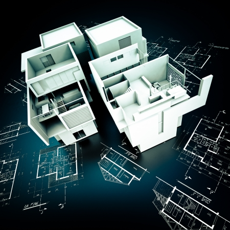 3D rendering of a modern design building on top of blueprints in white and black  photo