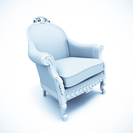 3D rendering of a retro style armchair in pale blue and white  Stock Photo - 13672628