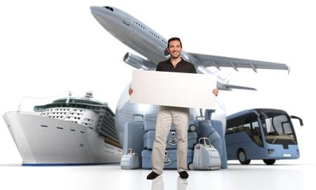 high key: 3D rendering di un uomo che tiene un cartello bianco con un globo mondiale, un aereo, una nave da crociera e un pullman con una pila alta chiave di bagagli sullo sfondo