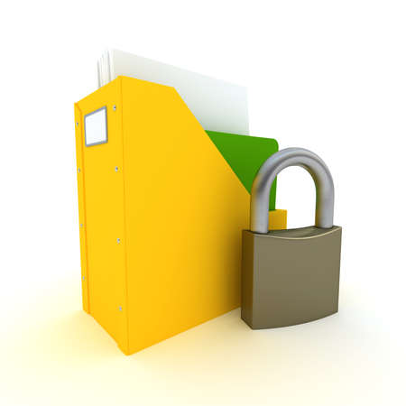 3D rendering of a folder with documents and an open padlock  photo