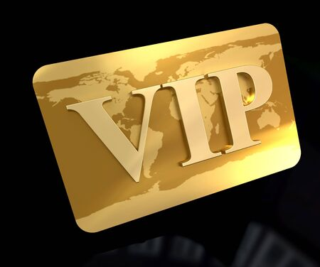 membership:  3D rendering of a golden card with the word VIP engraved on it