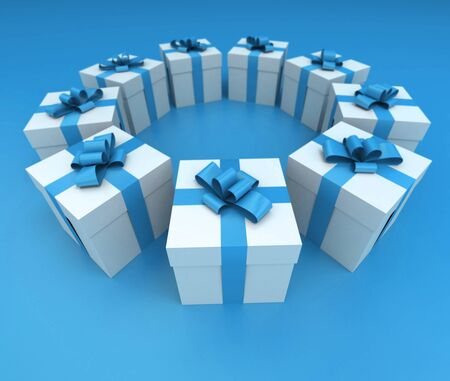 lateral: Lateral view of a circle of white gift boxes with blue ribbons and background, 3D rendering Stock Photo