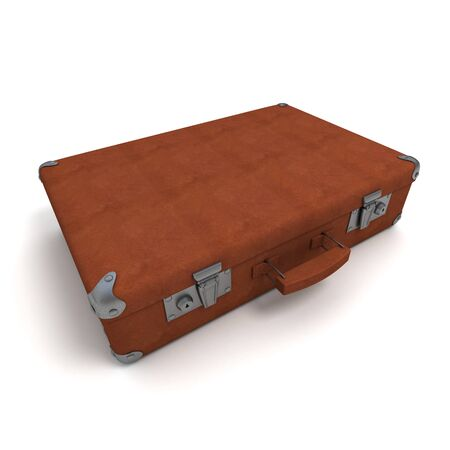 3D rendering of a classical suitcase in dark brown leather  photo