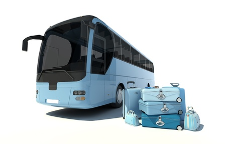 coach bus:  3D rendering of a coach bus and a pile of luggage in pale blue shades