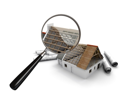 inspecting:  3D rendering of a house under construction scrutinized by a magnifying glass