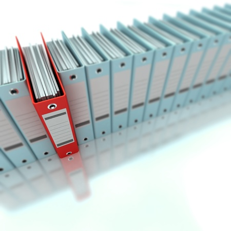 filing document: 3D rendering of a line of office ring binders with one sticking out Stock Photo