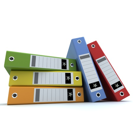 3D-rendering of a group of colorful ring binders   photo
