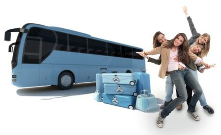 voyage: Un groupe de filles heureuse célébration un voyage en bus