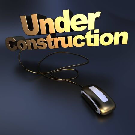 3D illustration of the word Under construction connected to a computer mouse in gold Stock Illustration - 13734469