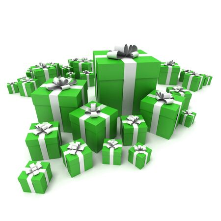 big boxes: 3D rendering of a big group of green gift boxes with a white ribbons in different sizes