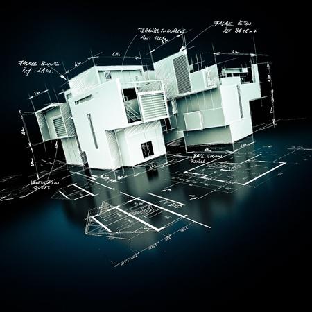 Rendu 3D d'un projet de projet de maison, avec des notes manuscrites et de dessins