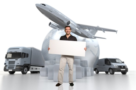 air freight:  A man holding a blank message board with the world, piles of packages, truck, chronometer,  van and airplane on the background