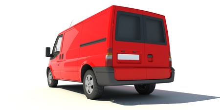 3D rendering of a red transportation van with no brand name (rear view)   Stock Photo