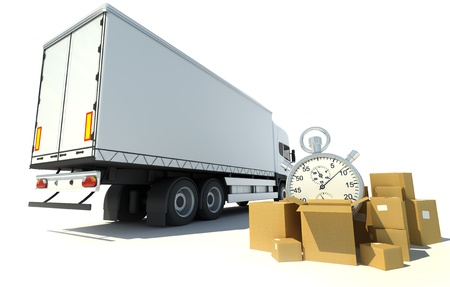 send parcel:     3D rendering of a white truck, a pile of boxes and a chronometer