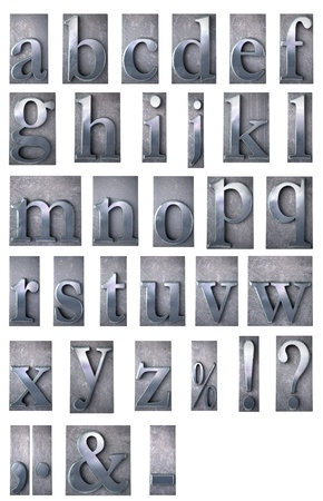 typescript:  3D rendering of an alphabet in metallic typescript print letter cases including many symbols (lower-case)  Stock Photo