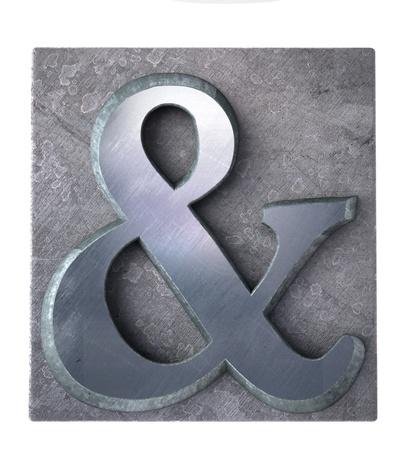 letter case:  & symbol in typescript metallic print letter case (part of matching alphabet)  Stock Photo