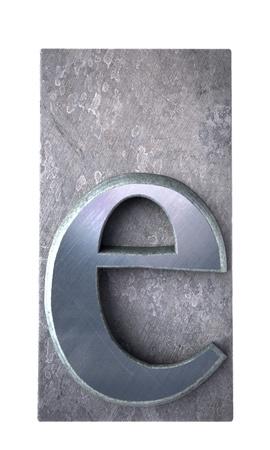 metallic letters:  3D rendering an e  letter in metallic typescript print (part of a matching alphabet)