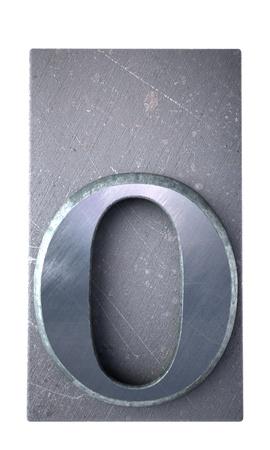 typescript:  3D rendering an o  letter in metallic typescript print (part of a matching alphabet)