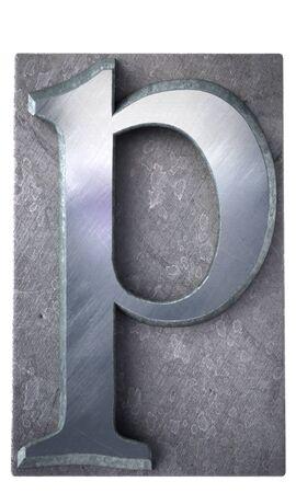 typescript:  3D rendering an p  letter in metallic typescript print (part of a matching alphabet)  Stock Photo
