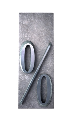lithograph:  3D rendering of a red percentage sign in metallic typescript print (part of a matching alphabet)
