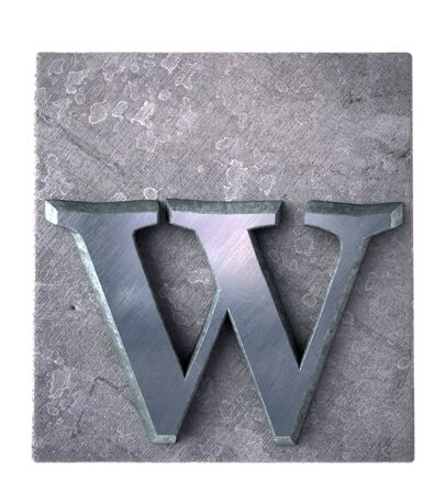 metallic letters:  3D rendering an w  letter in metallic typescript print (part of a matching alphabet)  Stock Photo