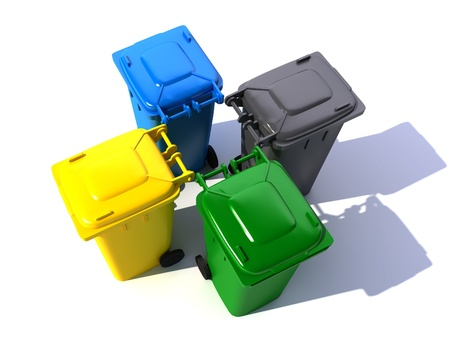 centered:  3D rendering of four garbage bins in different colors in a centered arrangement  Stock Photo