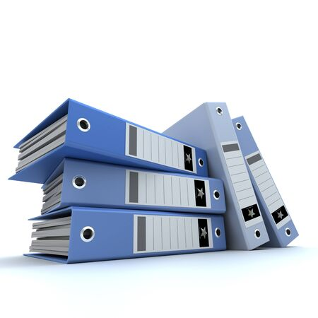 3D-rendering of a group of blue ring binders   photo
