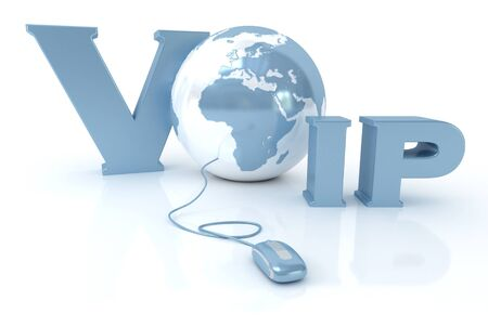voip:  3D rendering of the word VOIP and the Earth connected to a computer mouse