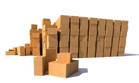 piles of cardboard boxes on a white background Stock Photo - 13767681