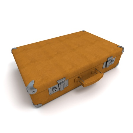 3D rendering of a classical suitcase in light brown leather  photo