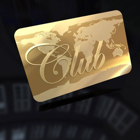 membership:  3D rendering of a golden card with the word club and a world map engraved on it