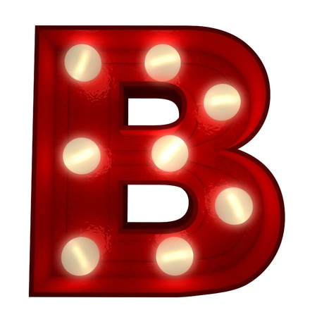 3D rendering of a glowing letter B ideal for show business signs Stock Photo - 13767754