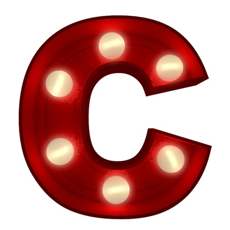 3D rendering of a glowing letter C ideal for show business signs Stock Photo - 13767766