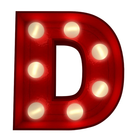 3D rendering of a glowing letter D ideal for show business signs Stock Photo - 13767769