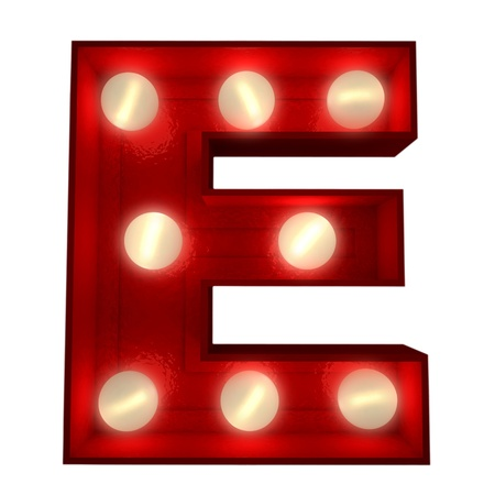 3D rendering of a glowing letter E ideal for show business signs  photo