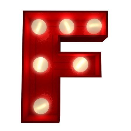 3D rendering of a glowing letter F ideal for show business signs Stock Photo - 13767763
