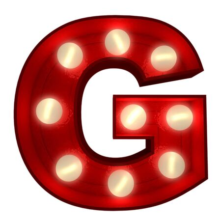 3D rendering of a glowing letter G ideal for show business signs  photo