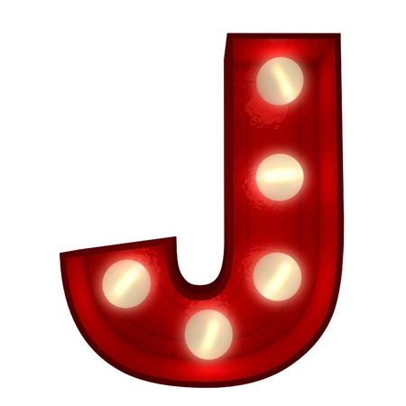 3D rendering of a glowing letter J ideal for show business signs  photo