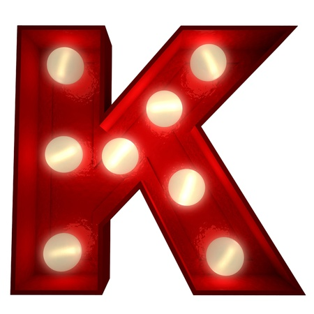 showbiz:  3D rendering of a glowing letter K ideal for show business signs