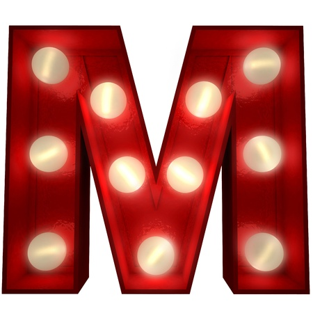 3D rendering of a glowing letter M ideal for show business signs  photo