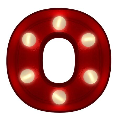 3D rendering of a glowing letter O ideal for show business signs  photo
