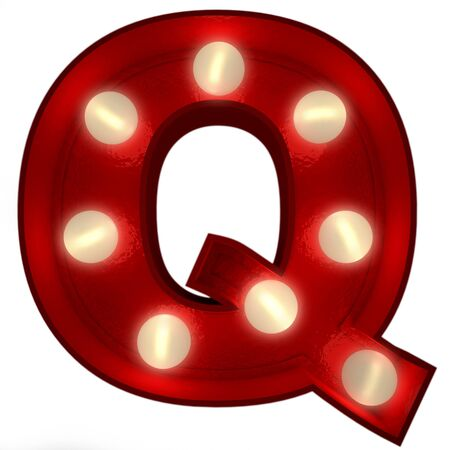 3D rendering of a glowing letter Q ideal for show business signs