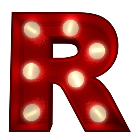 letter r:  3D rendering of a glowing letter R ideal for show business signs
