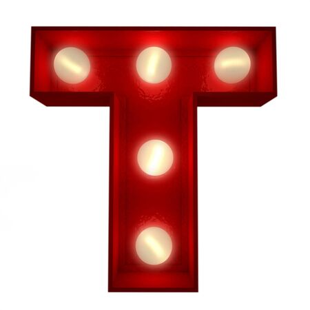 3D rendering of a glowing letter T ideal for show business signs  photo