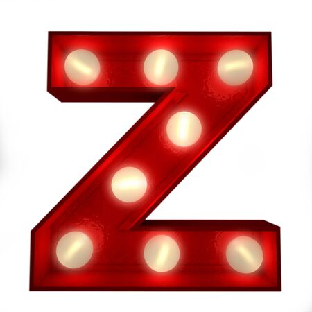 3D rendering of a glowing letter Z ideal for show business signs  photo