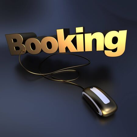 hotel booking:  3D illustration of the word bookingin golden  connected to a computer mouse