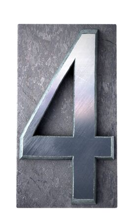 typescript:  3D rendering of the number 4 in typescript print letter cases(part of a matching alphabet)