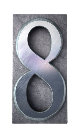 lithograph:  3D rendering of the number 8 in typescript print letter cases (part of a matching alphabet)   Stock Photo