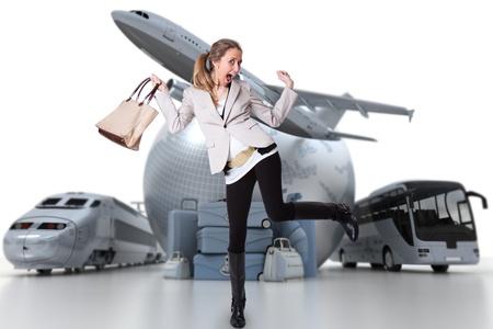 Jeune femme célébrant son départ de vacances Banque d'images